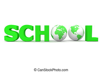 Global School in Green - Two Globes