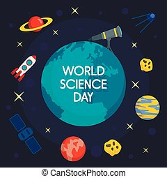 Global science day concept background, flat style