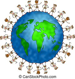 global scout kids - world globe surrounded by boy scouts...