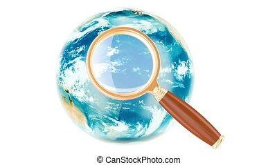 Global Search concept with rotating Earth Globe, 3D...