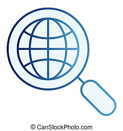 Global search flat icon. Earth and magnifying glass blue icons in trendy flat style. Magnifyer and planet gradient style design, designed for web and app. Eps 10.