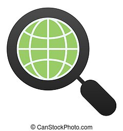 Global search flat icon. Earth and magnifying glass color icons in trendy flat style. Magnifyer and planet gradient style design, designed for web and app. Eps 10.