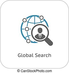 Global Search Icon. Flat Design. Isolated Illustration.