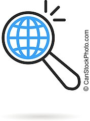 global search like thin line magnifying glass