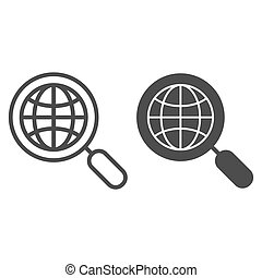 Global search line and glyph icon. Earth and magnifying glass vector illustration isolated on white. Globe search outline style design, designed for web and app. Eps 10.