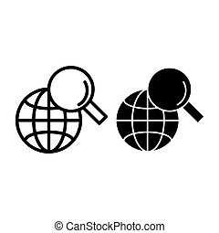 Global search line and glyph icon. Magnifying glass and globe vector illustration isolated on white. Searching outline style design, designed for web and app. Eps 10.