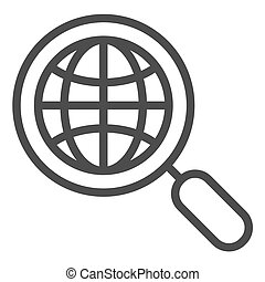 Global search line icon. Earth and magnifying glass vector illustration isolated on white. Globe search outline style design, designed for web and app. Eps 10.