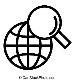 Global search line icon. Magnifying glass and globe vector illustration isolated on white. Searching outline style design, designed for web and app. Eps 10.