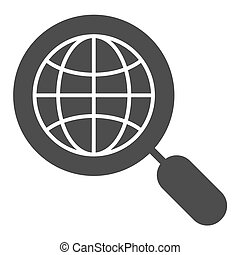 Global search solid icon. Earth and magnifying glass vector illustration isolated on white. Globe search glyph style design, designed for web and app. Eps 10.