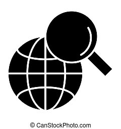 Global search solid icon. Magnifying glass and globe vector illustration isolated on white. Searching glyph style design, designed for web and app. Eps 10.