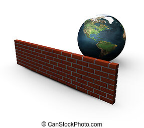 Global security - 3D render of a globe behind a brick wall