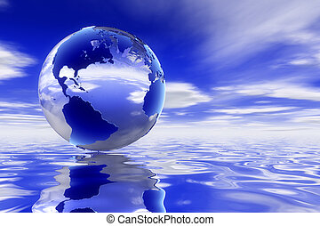 Global Series - A high quality Glass 3d earth over a clean ...