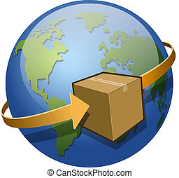 Global Shipping - A package circling the globe.