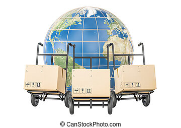 Global shipping and delivery concept, parcels on the hand trucks and Earth. 3D rendering