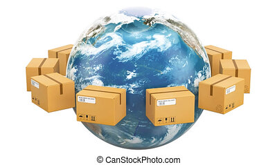 Global shipping and delivery concept, parcels rotating around the Earth. 3D rendering