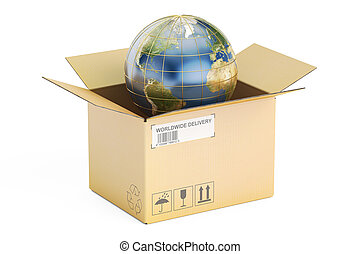 Global shipping and delivery concept, opened parcel with Earth. 3D rendering