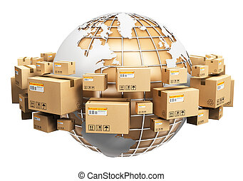 Global shipping and worldwide logistics concept - Creative...