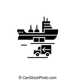 Global shipping black icon, vector sign on isolated background. Global shipping concept symbol, illustration