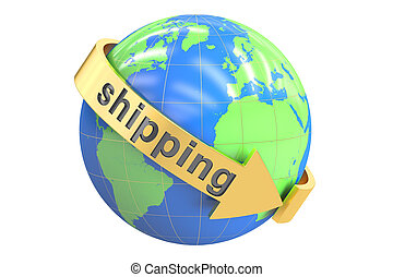 Global shipping concept, 3D rendering