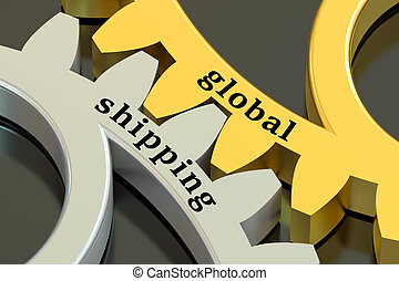 Global Shipping concept on the gearwheels