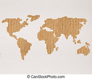 Global shipping concept with cardboard world map