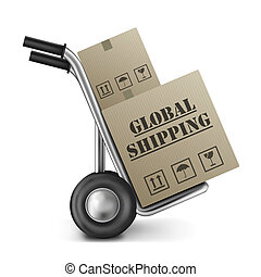 global shipping international trade brown cardboard box on hand truck international trade import and export around the globe delivery of online shopping order