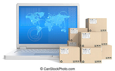 Global shipping. - Laptop with globl network map screen and...