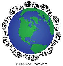 global shoe print - carbon shoe print around the globe...