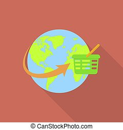 Global shopping icon, flat style