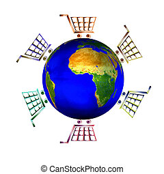 Isolated illustration of logo icon with bright shopping carts around world globe as shopping concept .