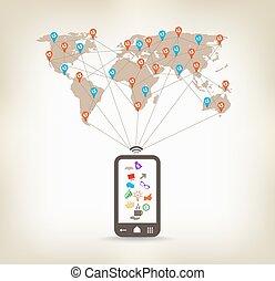 global, smartphone, comunicación