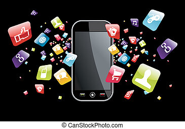 global, smartphone, salpicadura, apps, iconos