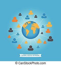Global social media network.
