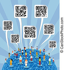 Global social media World with QR codes signs - Social media...