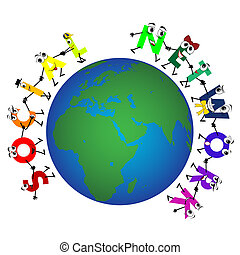 Global Social Network characters, vector