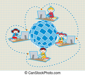 Global social school network communication - Children uses...