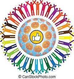 Global social teamworking concept with like symbol - Global...