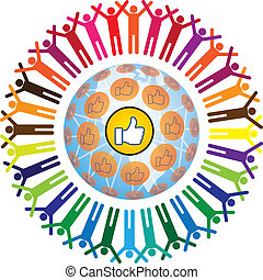 Global social teamworking concept with like symbol - Global ...