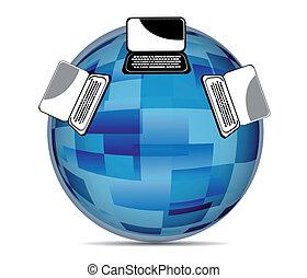 global, sozial, medien, abbildung