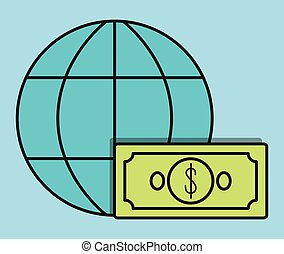 global sphere bill invoice payment icon. Vector graphic