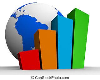 global statistic - 3d rendered illustration of a globe ...