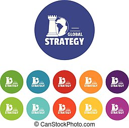 Global strategy icons set vector color