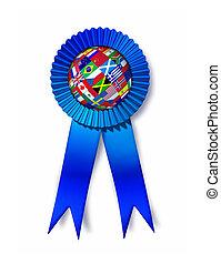 Global Success Award - Global success award with a silk blue...