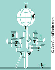 global, sucesso, escadaria, negócio