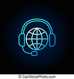 Global support line blue icon