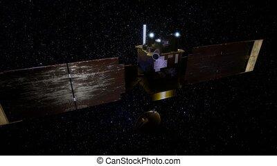 Global Surveyor orbiting Mars planet. This image elements...