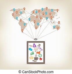 global, tableta, comunicación, concepto