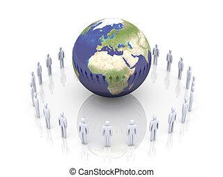 Global Team - Europe, Africa - 3D rendered illustration....