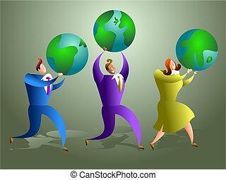 global team - team of global business workers