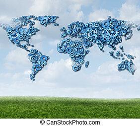 global, technologie, wolke